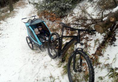 zeigt E-bike mit Kindern im Anhänger im Schnee
